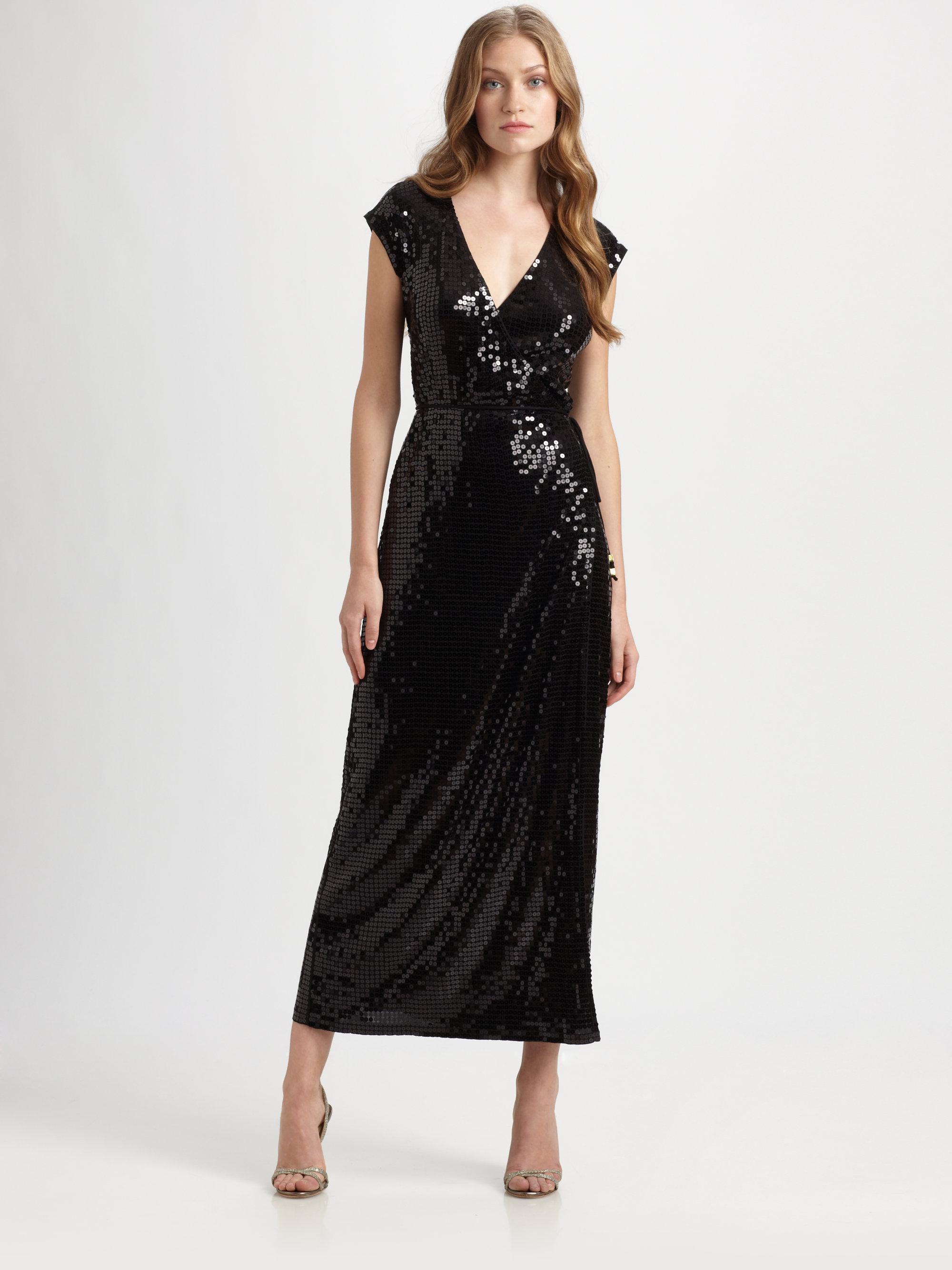 5847b7cf MICHAEL Michael Kors Sequin Wrap Dress in Black - Lyst