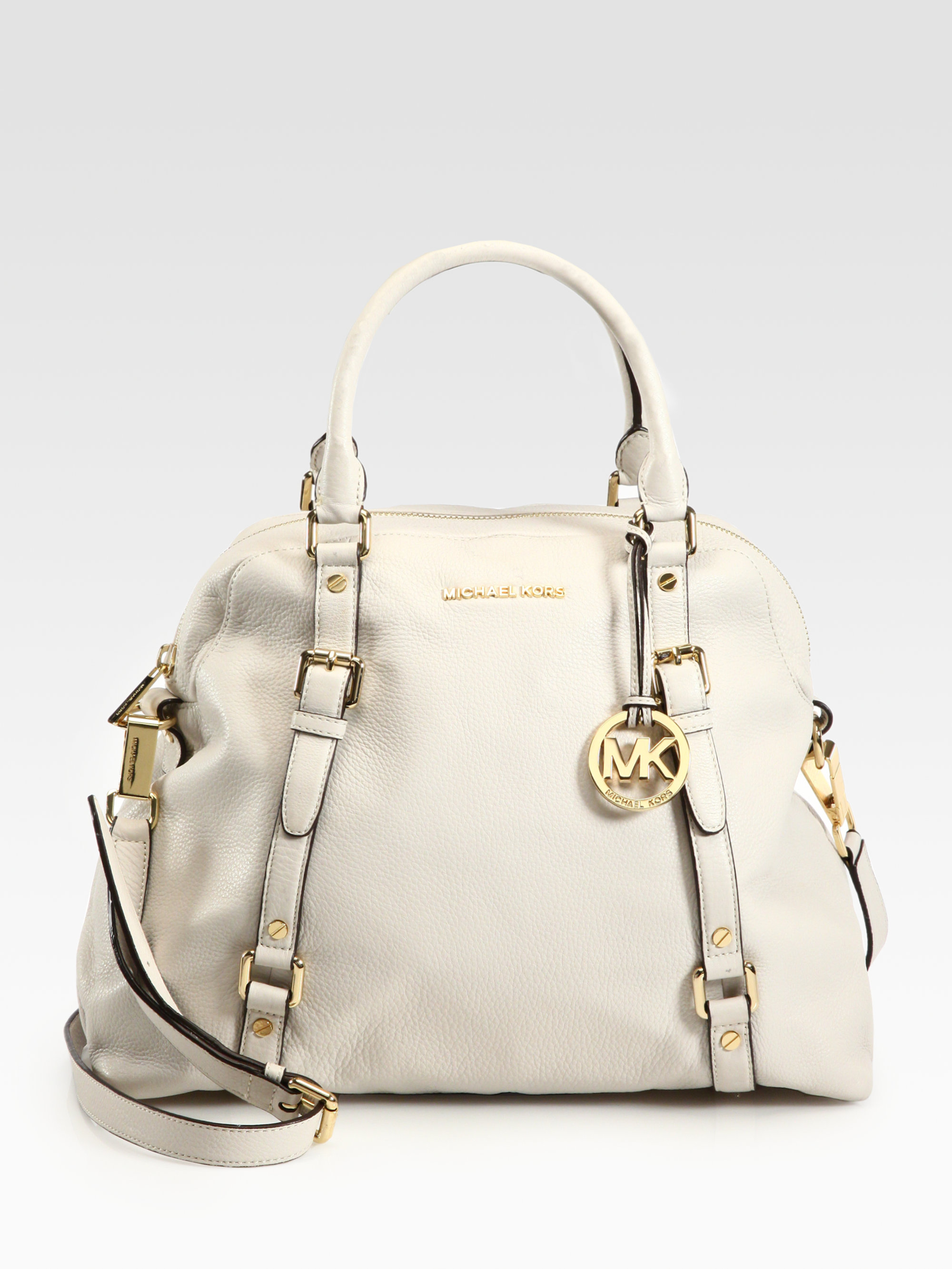 38b618cce32f Lyst - MICHAEL Michael Kors Large Bedford Bowler Bag in Natural