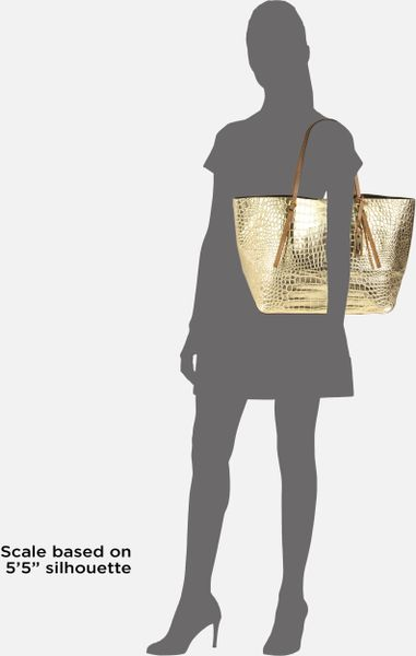 Michael Kors Ew Metallic Crocodile Embossed Leather Tote in Gold - Lyst