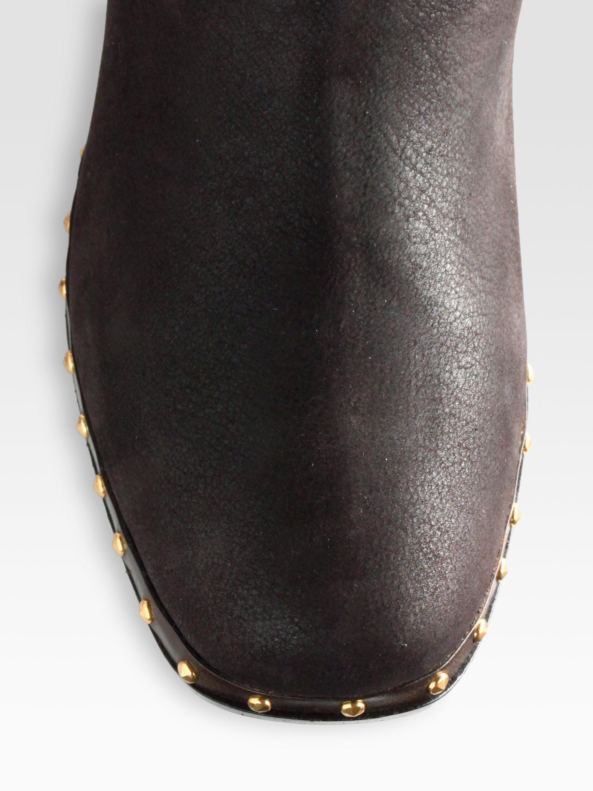 Lyst Miu Miu Studded Leather Knee High Motorcycle Boots