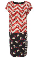MSGM Mixed Print Shift Dress - Lyst