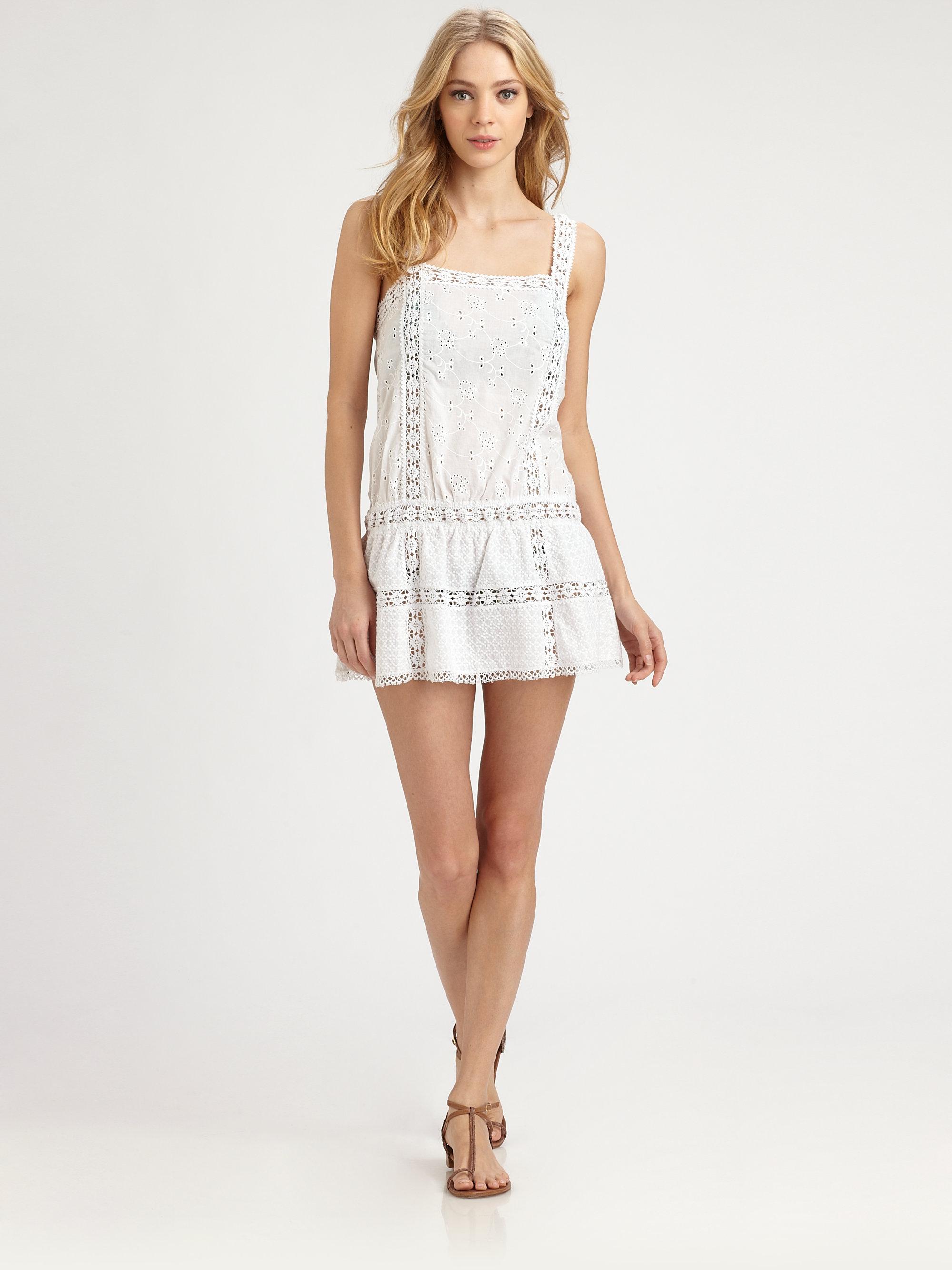 Ondademar Cotton Eyelet Dress in White  Lyst