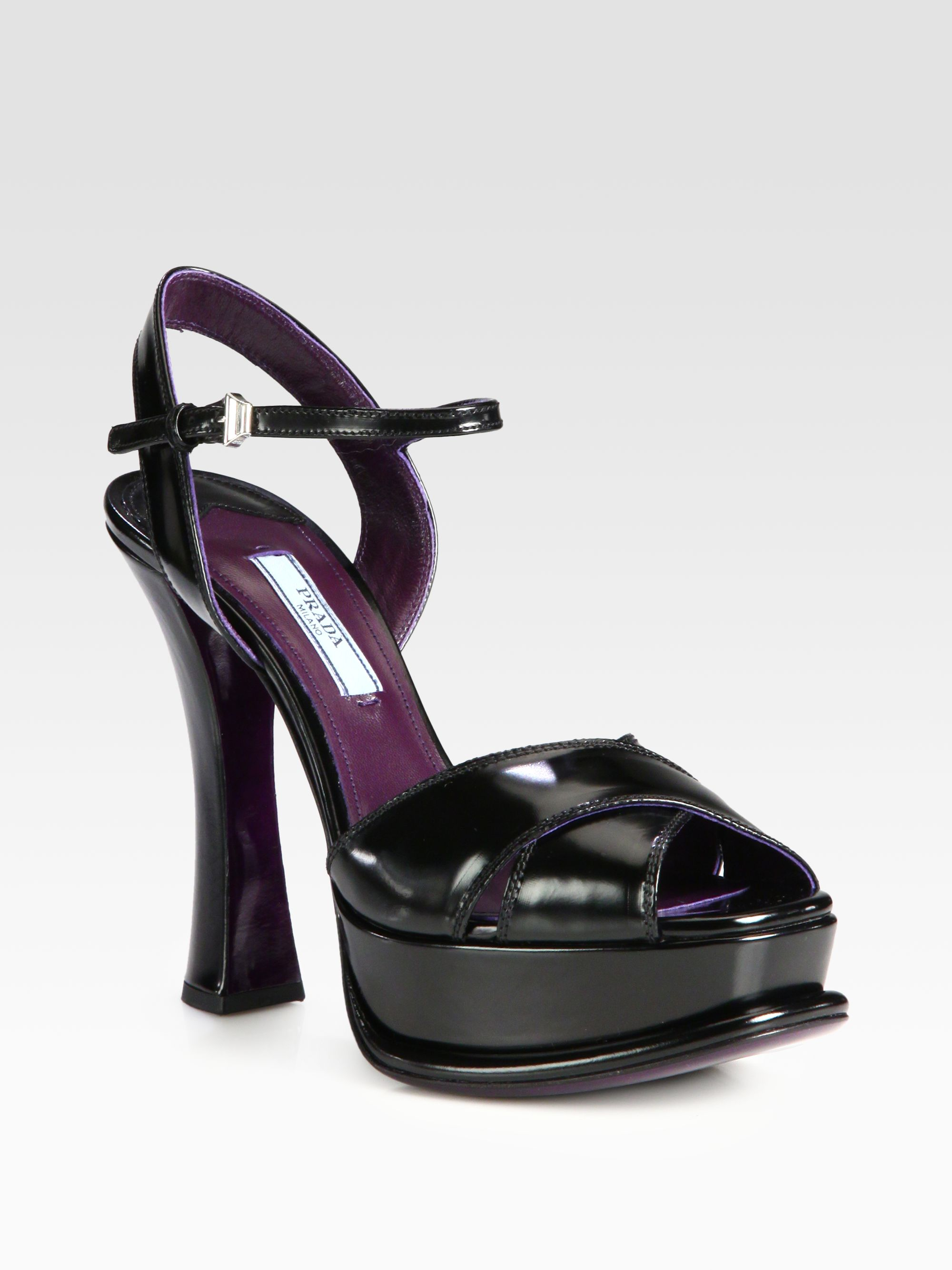 Lyst Prada Leather Crisscross Platform Sandals In Black