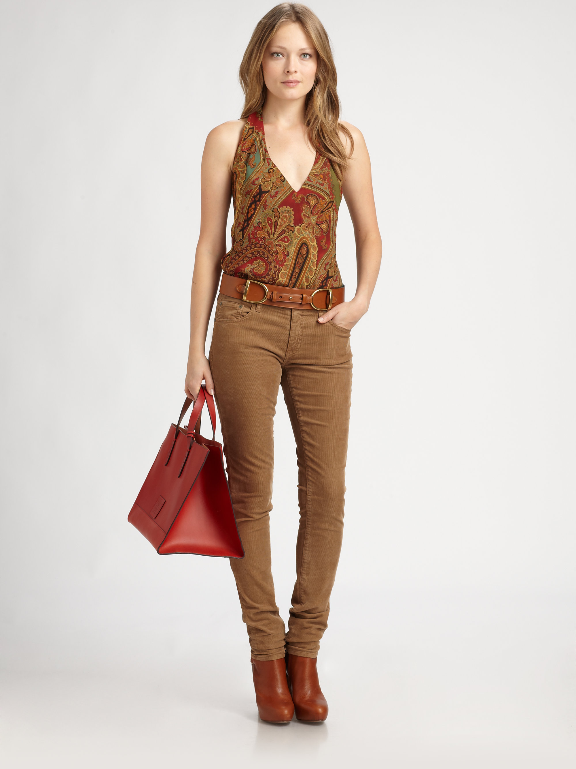 Ralph lauren blue label Skinny Corduroy Pants in Brown | Lyst