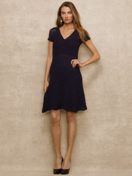 Ralph Lauren Blue Label Crocheted Cottonlinen Dress In