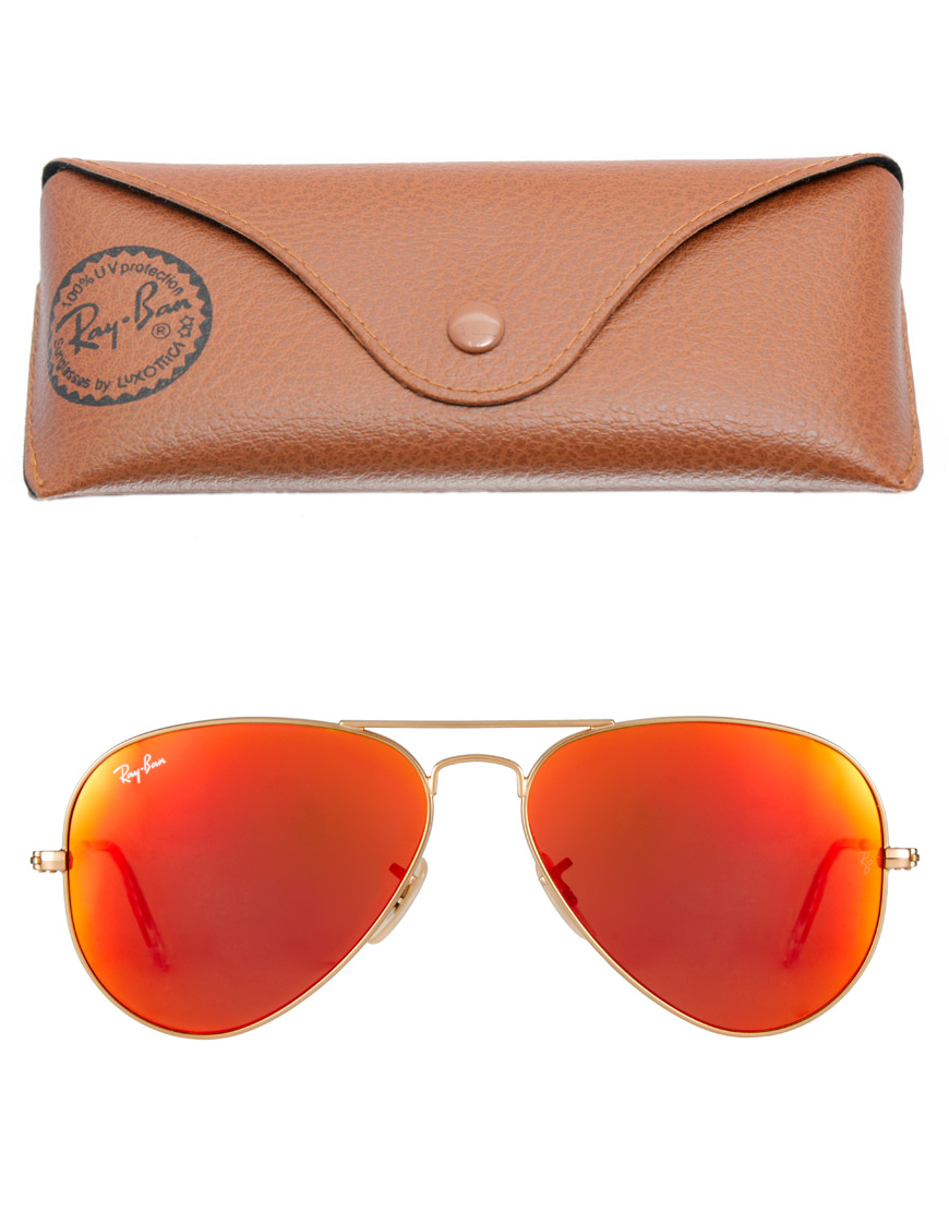red ray ban aviators  Ray-ban Aviator Sunglasses in Red for Men