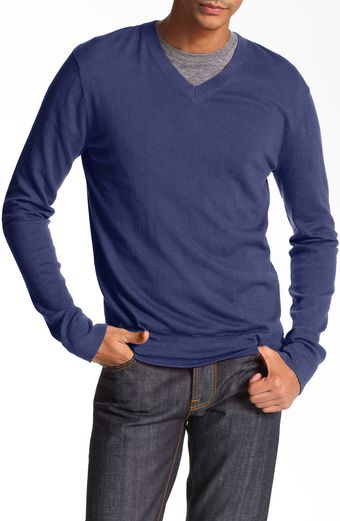 Theory Vneck Cotton Cashmere Sweater - Lyst