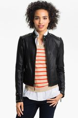 Two By Vince Camuto Studded Leather Moto Jacket - Lyst