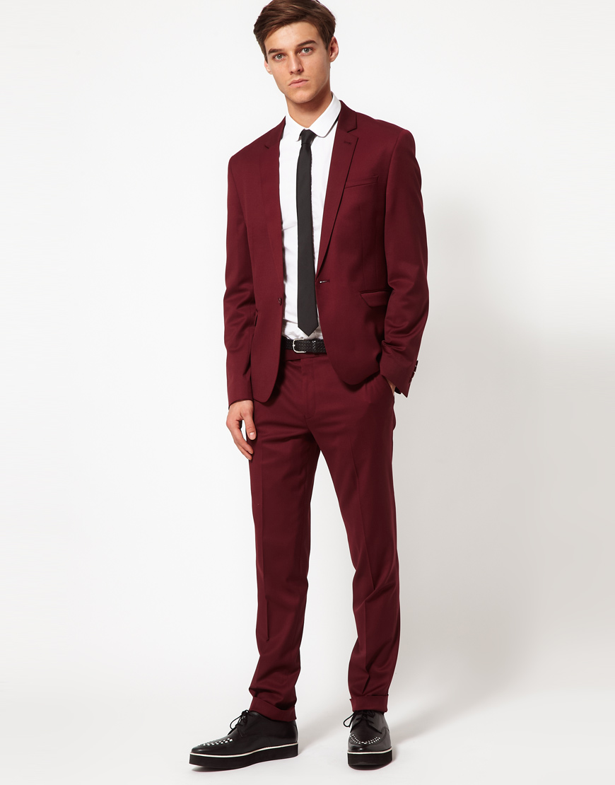Burgundy Skinny Suit - Go Suits