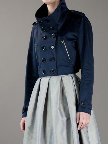 Burberry Cropped Trench Jacket In Blue Navy Lyst