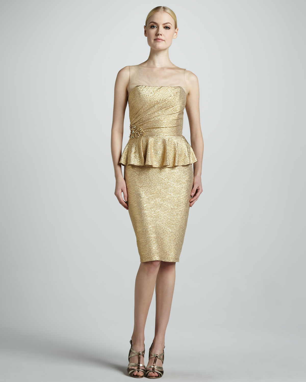 Lyst david meister peplum cocktail dress in metallic for Neiman marcus dresses for wedding guest