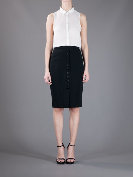 dolce gabbana button front pencil skirt in black lyst