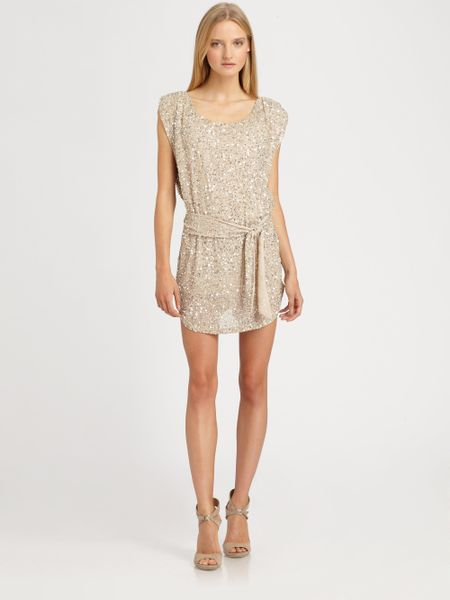 Haute Hippie Sequin Dress in Gold - Lyst