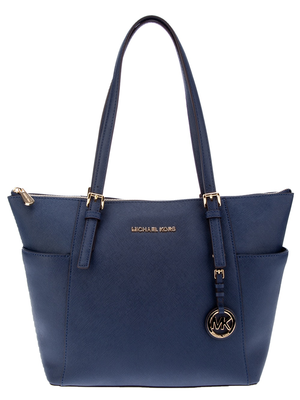 michael michael kors leather shopper tote in blue navy lyst. Black Bedroom Furniture Sets. Home Design Ideas