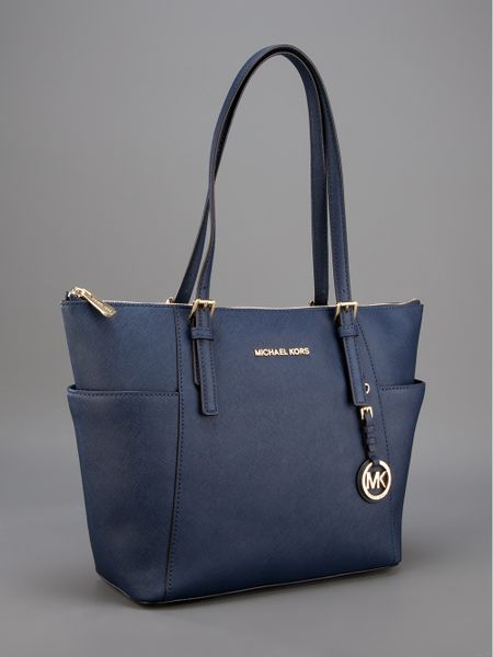 michael michael kors leather shopper tote in blue navy. Black Bedroom Furniture Sets. Home Design Ideas