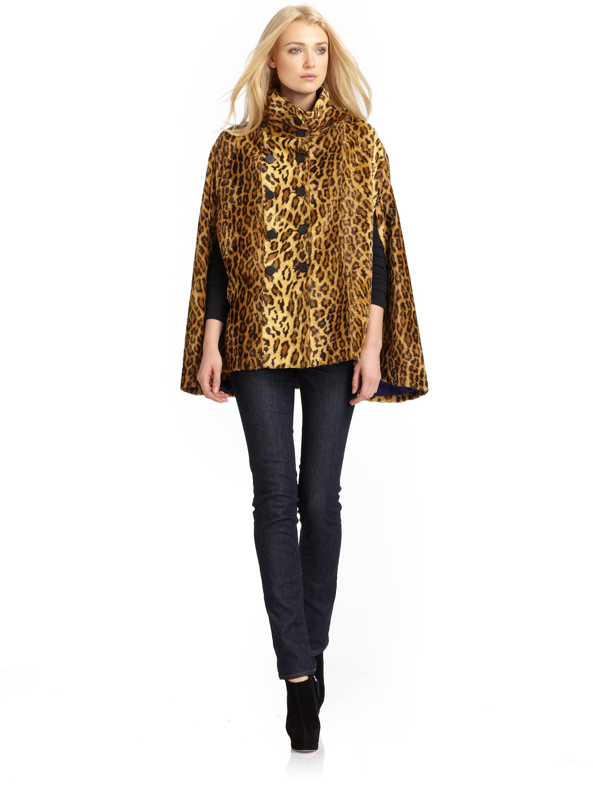 Wren Faux Leopard Fur Cape Coat | Lyst