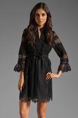 Anna Sui Organza and Lace Long Sleeve Half Placket Dress - Lyst