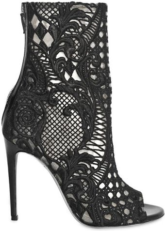 Balmain 110mm Guipure Lace Open Toe Boots - Lyst