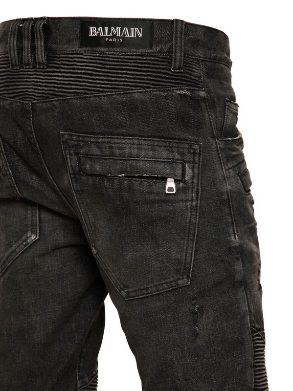 81d11a1d4a9 Balmain Ripped Washed Denim Biker Jeans in Black for Men - Lyst