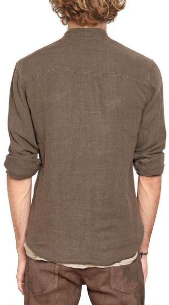 Balmain Linen Canvas Military Shirt In Khaki For Men Lyst