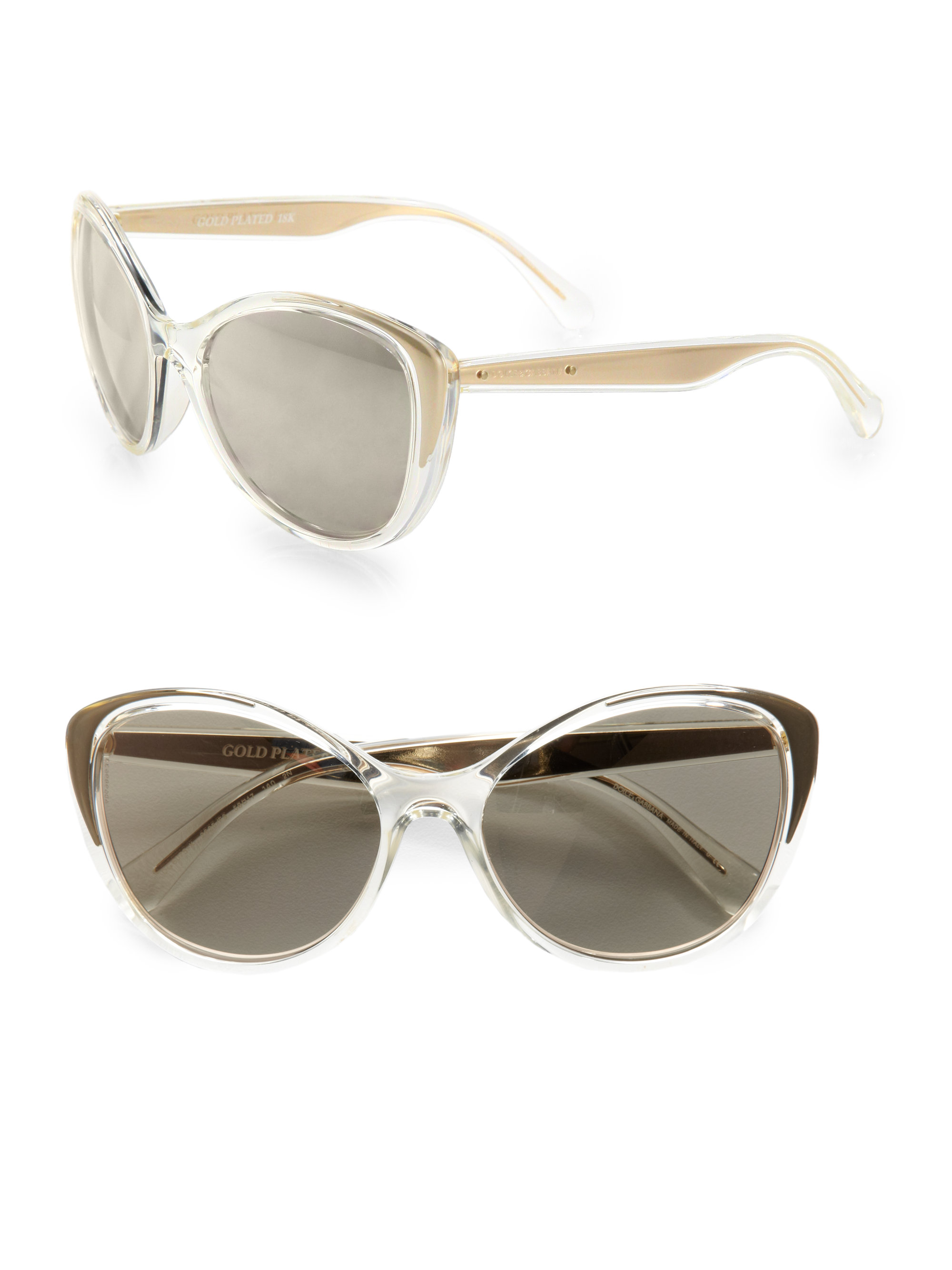 077a8b087ceb Lyst - Dolce   Gabbana 18k Goldplated Catseye Sunglasses in Metallic