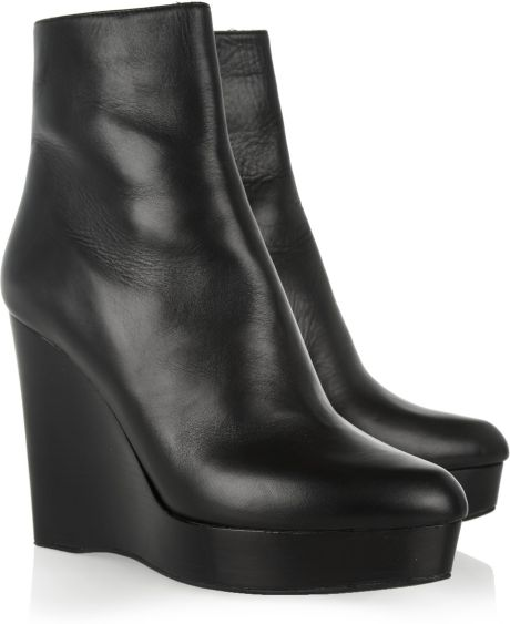 michael kors leather wedge ankle boots in black lyst