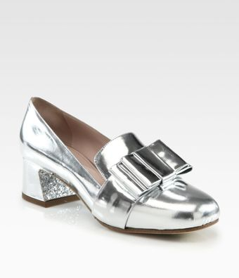 Miu Miu Metallic Leather Bow Glitter Heel Loafer Pumps - Lyst