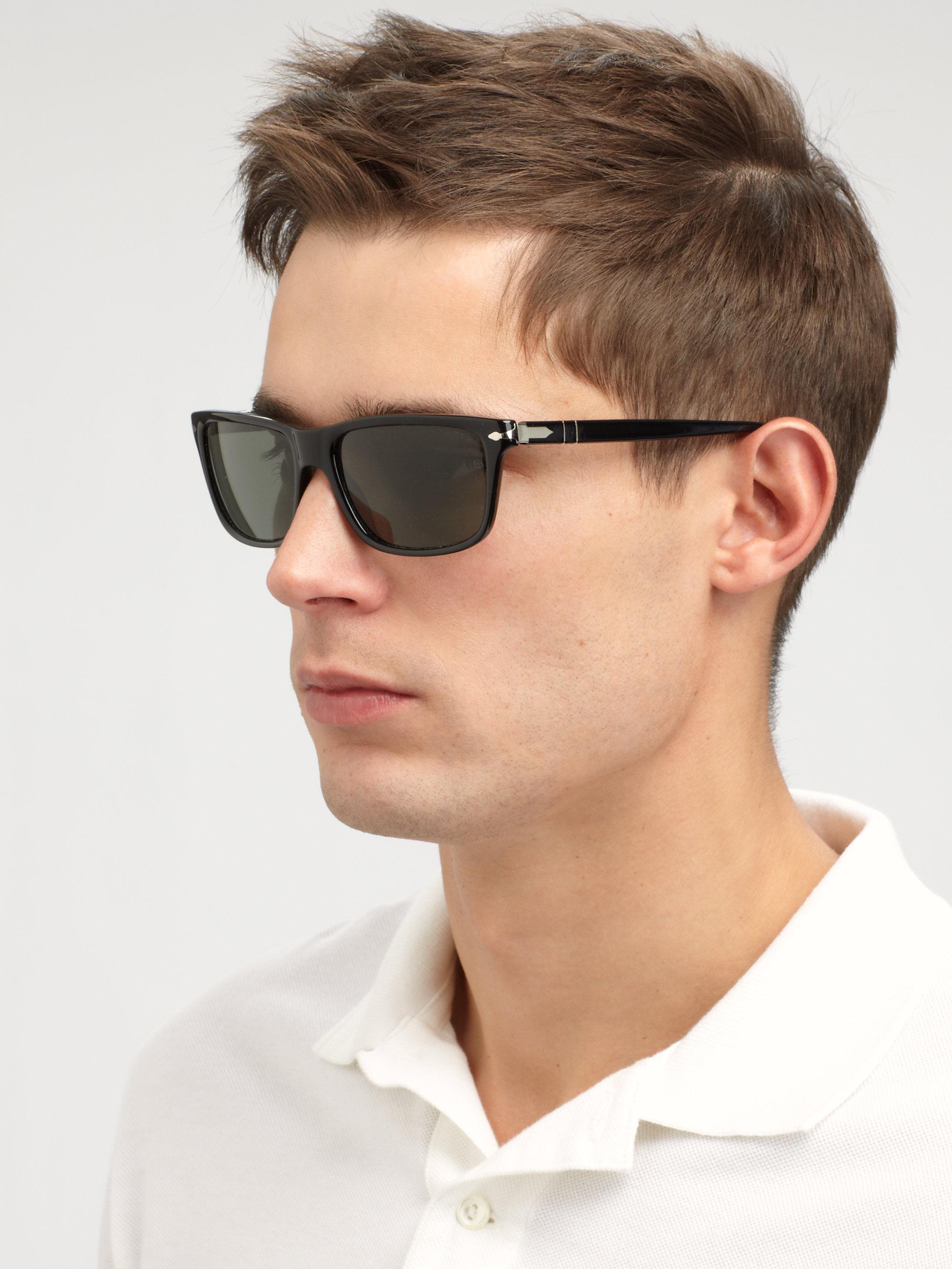 Persol Acetate Rectangular Sunglasses In Black For Men Lyst