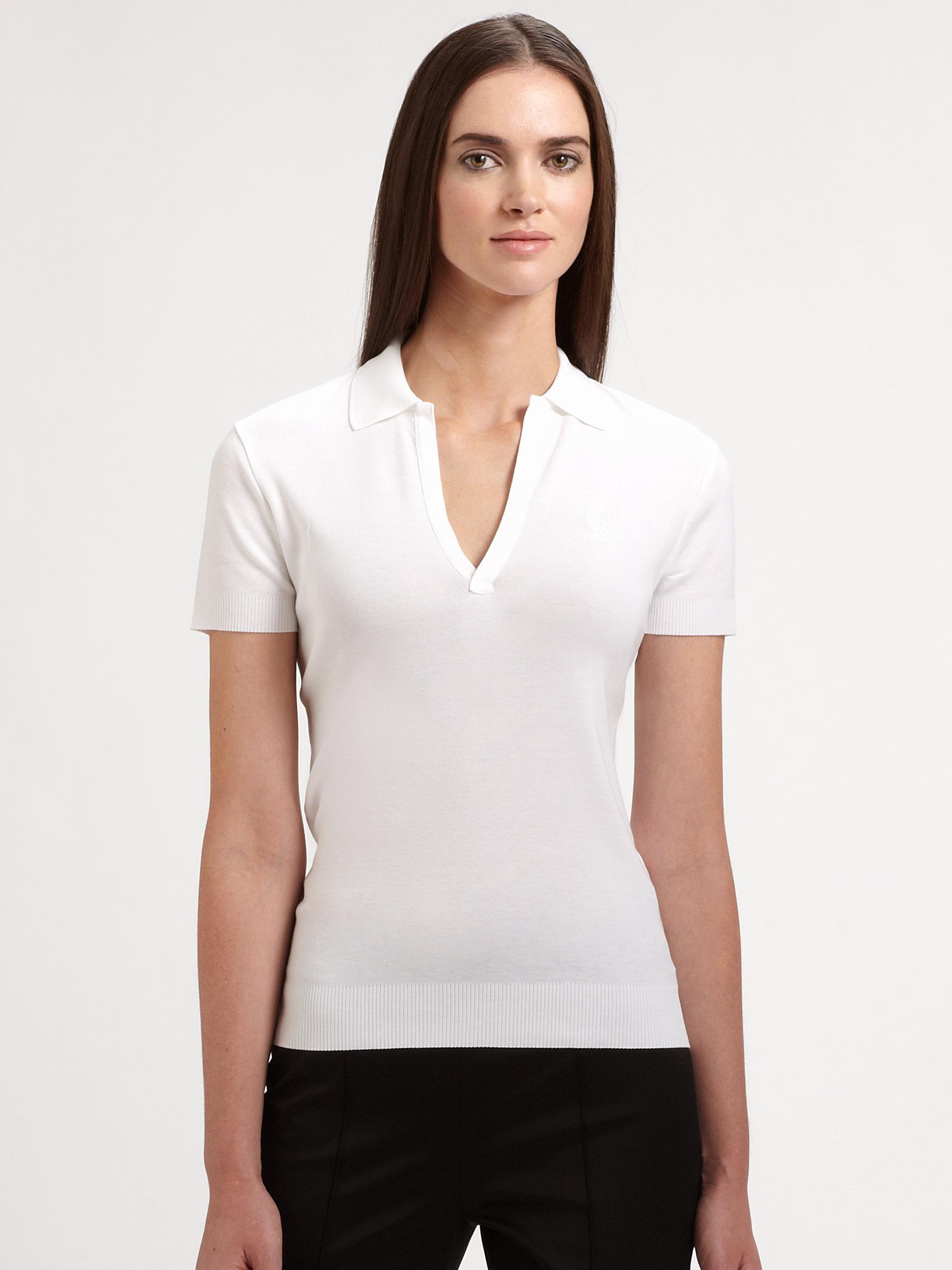 Ralph lauren black label open placket polo shirt in white for Ralph lauren black label polo shirt