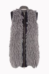 Stella McCartney  Fur Effect Sleeveless Full Zip Jacket - Lyst