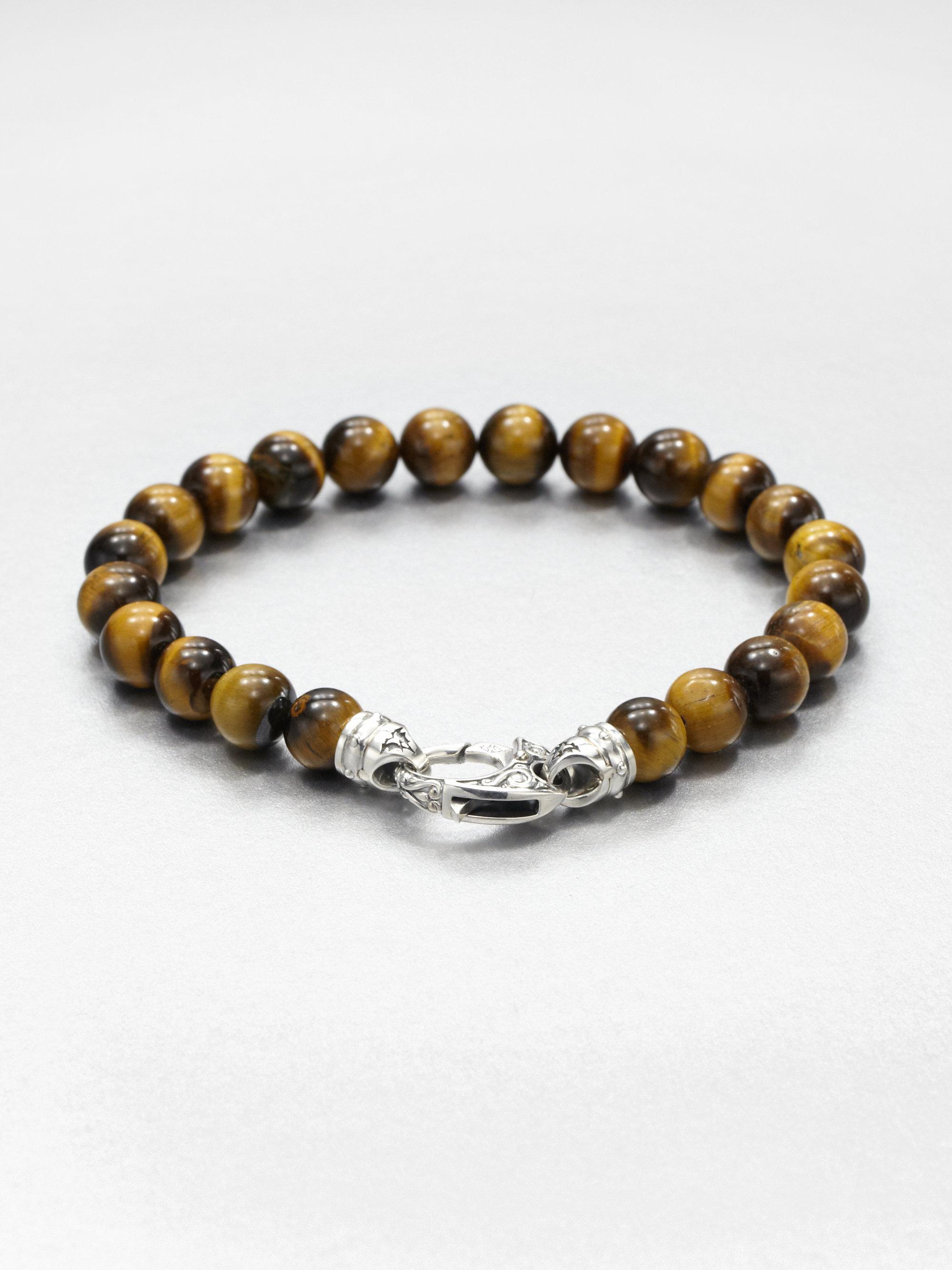 Stephen Webster Tigers Eye Beaded Bracelet In Brown For