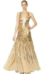 Blumarine Sequins On Techno Mesh Long Dress in Gold (nude) - Lyst