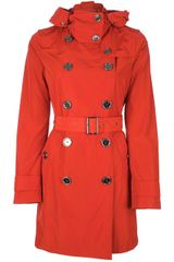 Burberry Brit Double Breasted Trench Coat with Hood - Lyst