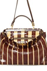 Fendi Peek A Boo Large Eel Pequin Top Handle