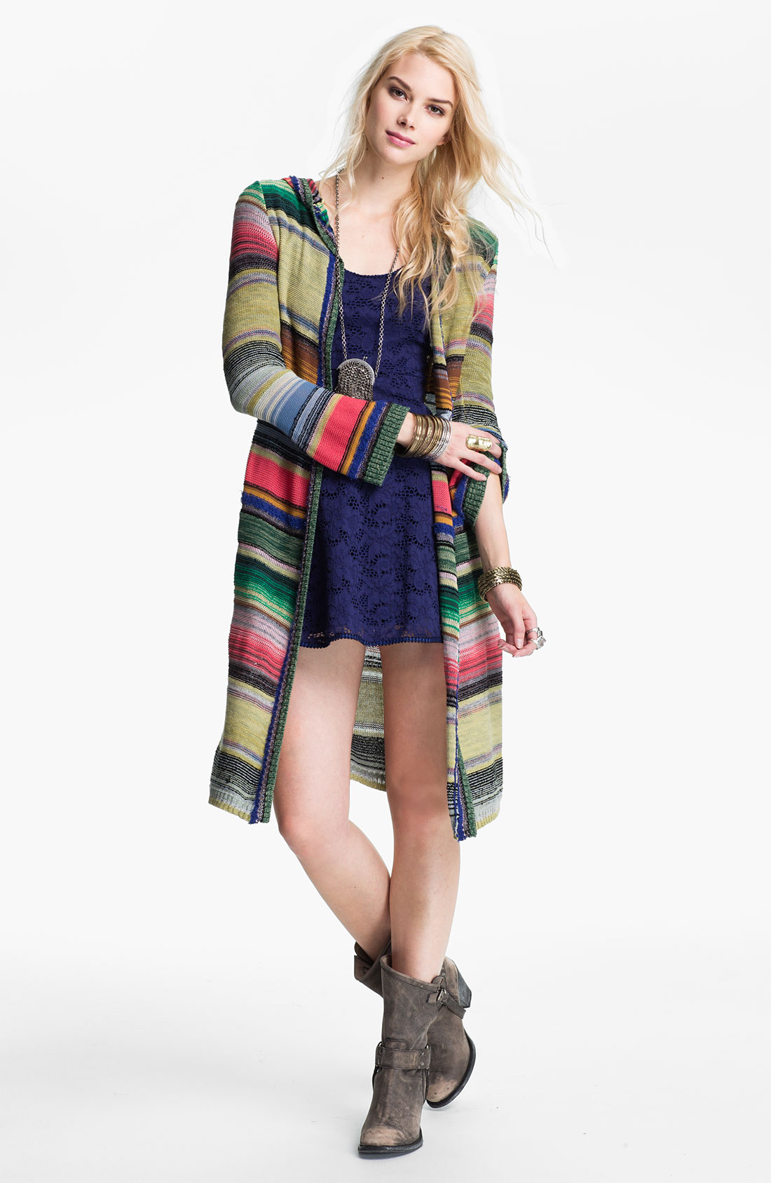Free people Serape Stripe Hooded Cardigan | Lyst