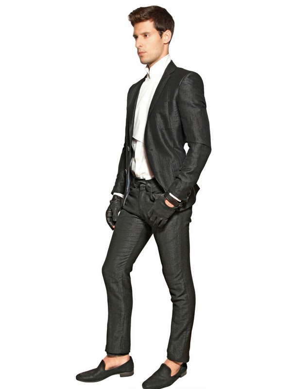 Karl lagerfeld Linen Viscose Jacquard Slim Fit Suit in Black for