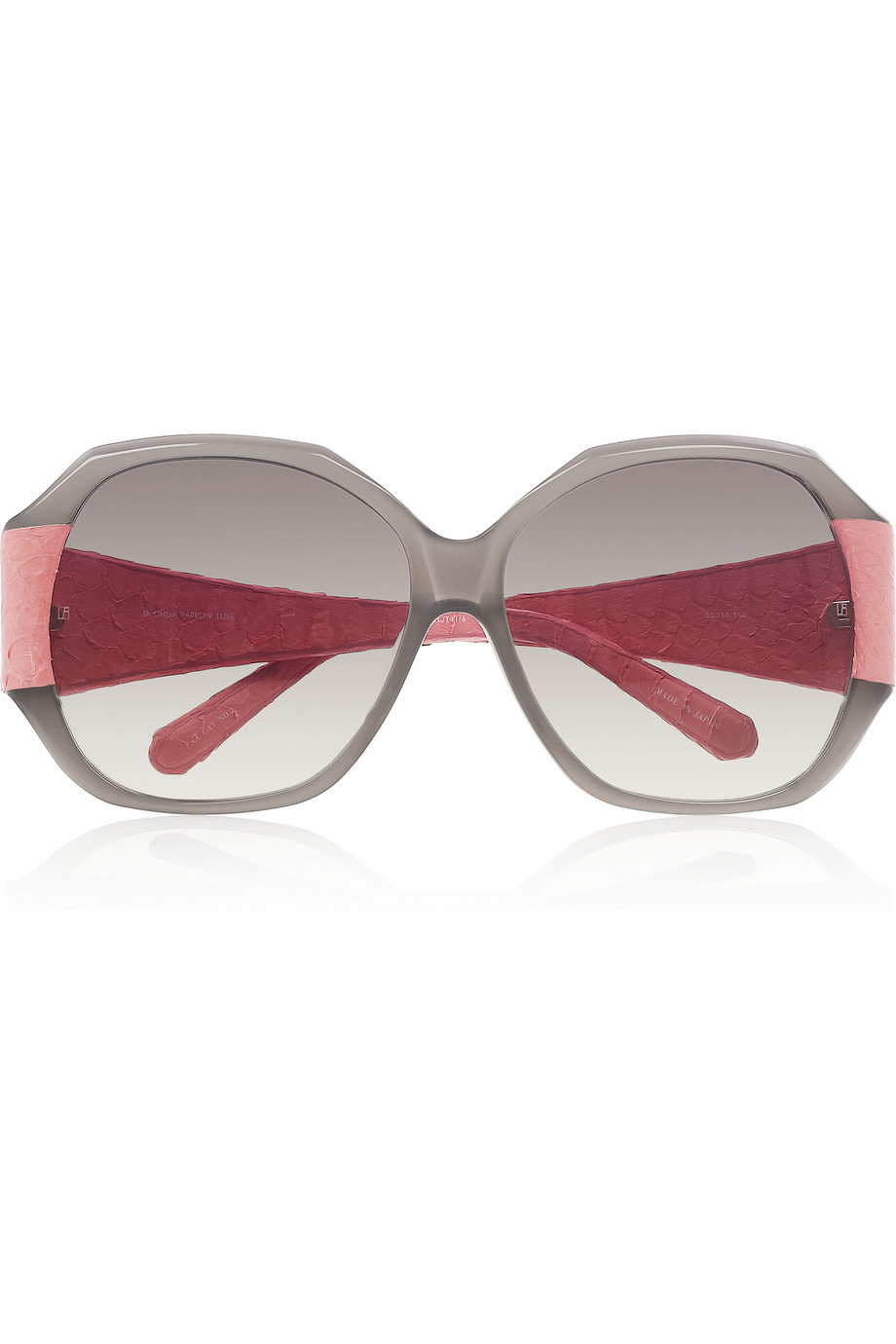 Geometric Sunglasses  linda farrow luxe geometric round frame acetate and snake effect
