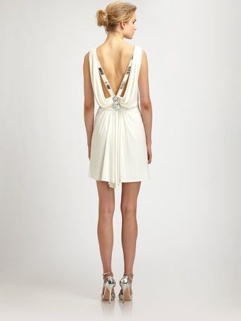 Badgley Mischka Beaded Halter Dress - Lyst