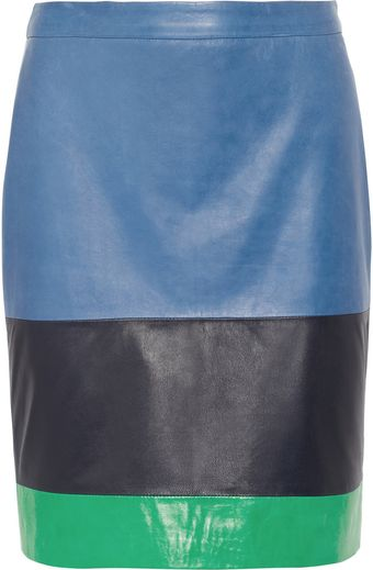 Boy by Band Of Outsiders Colorblock Leather Skirt - Lyst