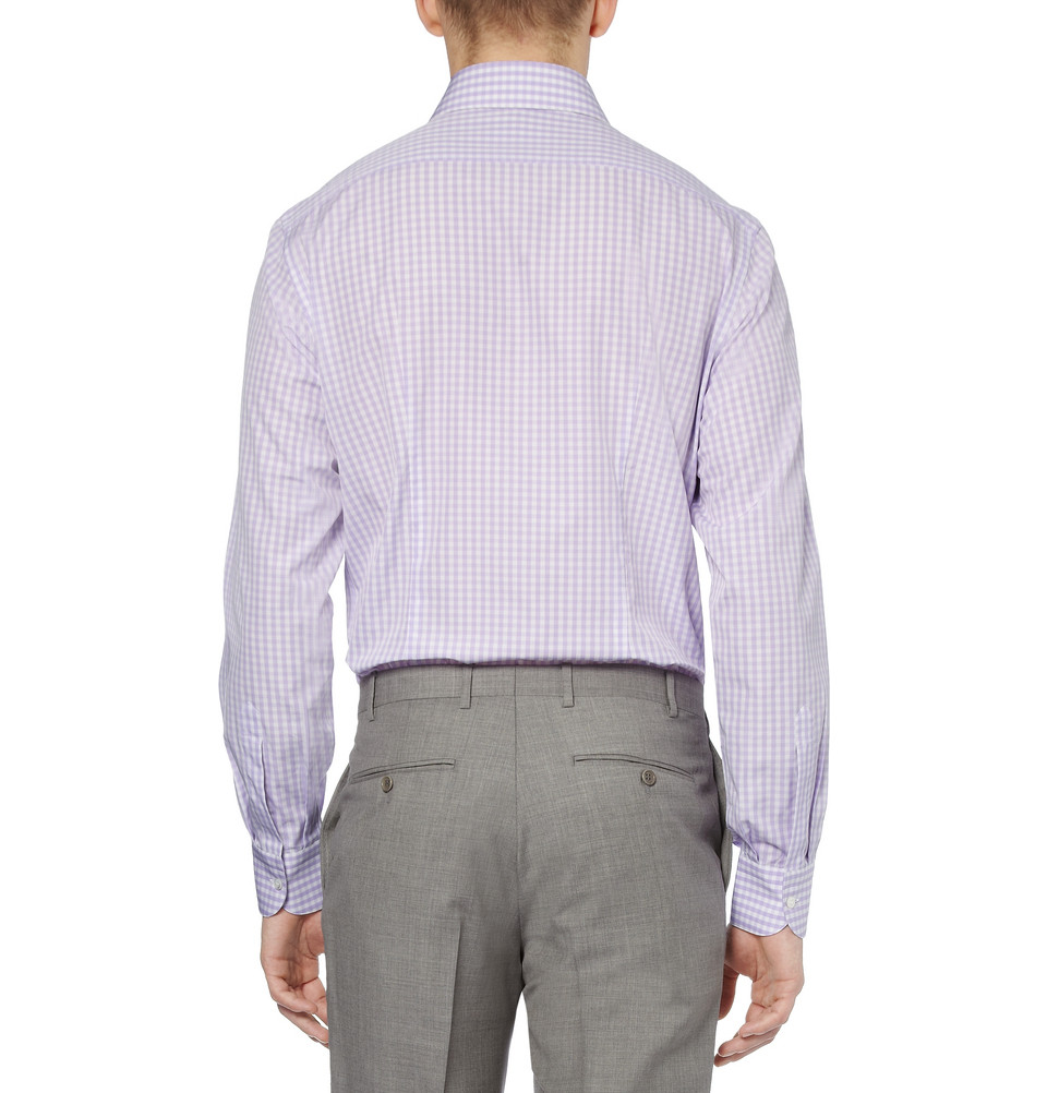 Brioni lilac gingham check cotton shirt in purple for men for Men s purple gingham shirt