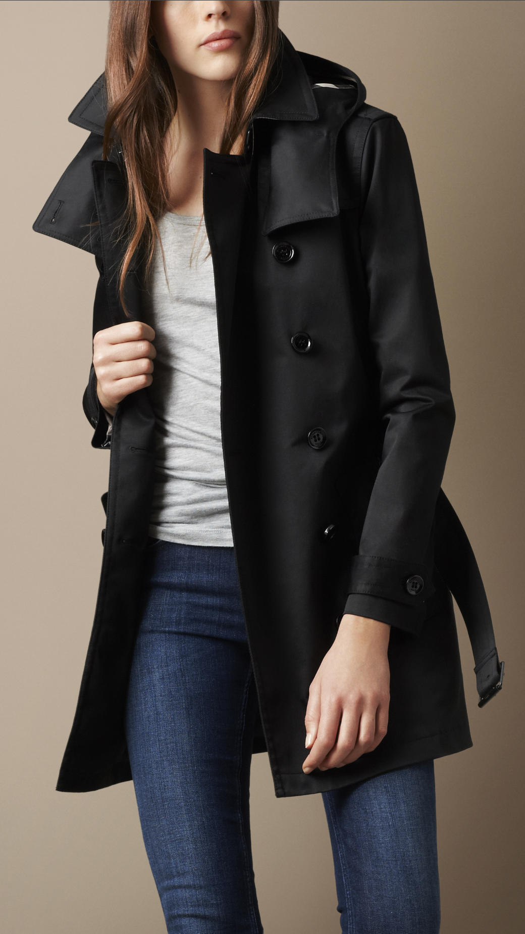 0ccd3fd4481 Burberry Brit Short Technical Cotton Twill Warmer Trench Coat in ...