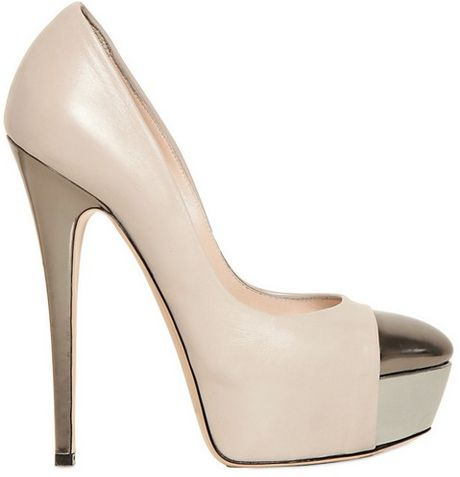 Casadei Calfskin Metallic Toe Pumps in Beige (pewter)