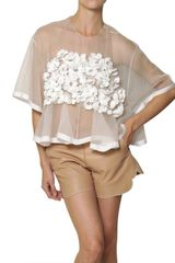 Chloé Silk Crochet Flower On Silk Organza Top