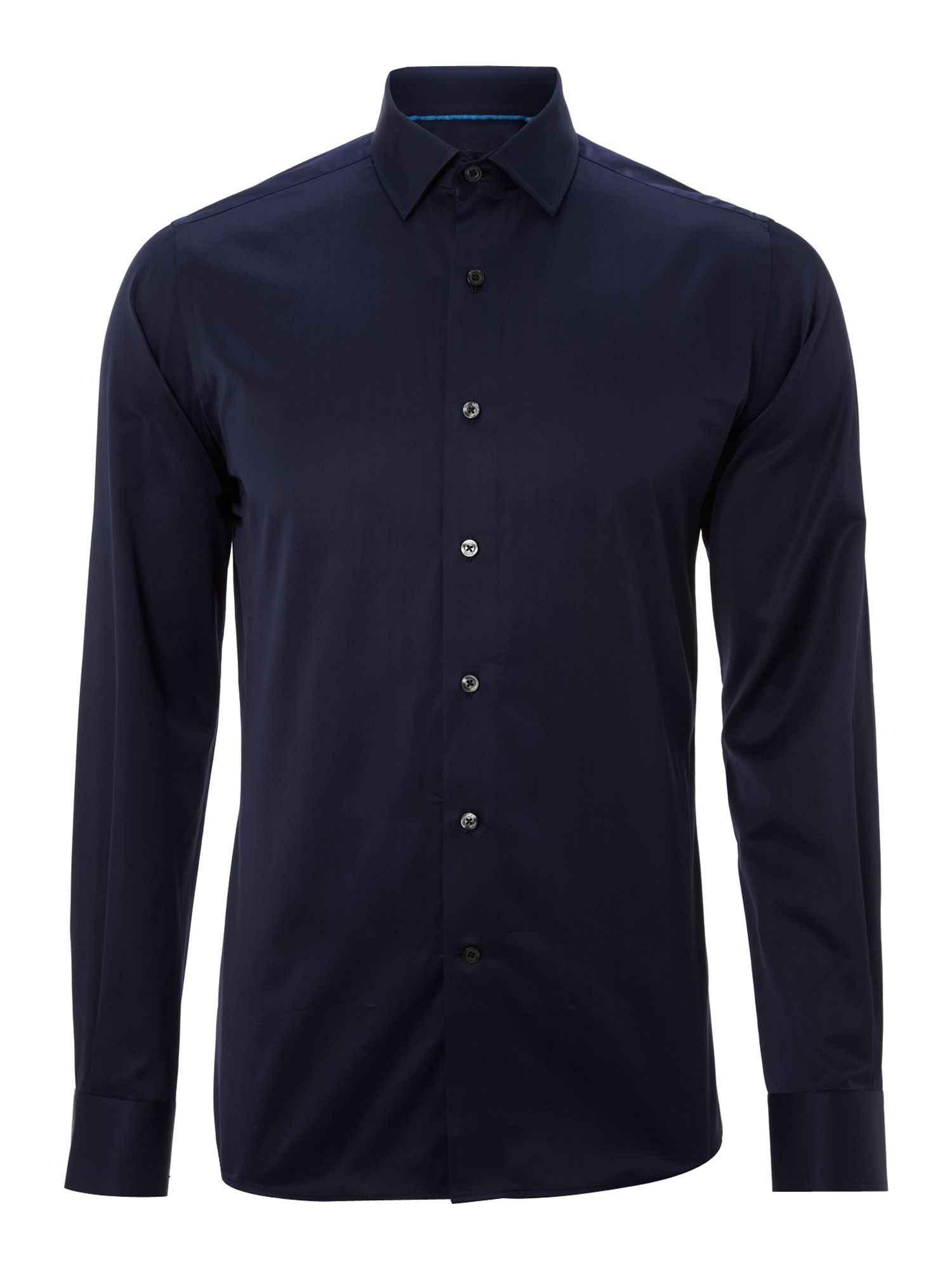 Duchamp long sleeve jade satin stripe shirt in blue for for Navy blue striped long sleeve shirt