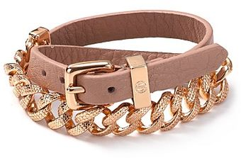 Marc By Marc Jacobs Leather and Chain Double Wrap Bracelet - Lyst