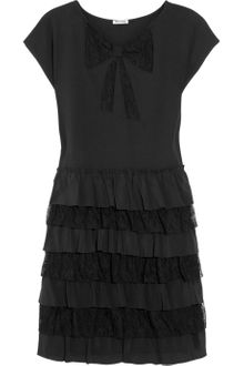 Miu Miu Lace and Silk Tiered Dress - Lyst