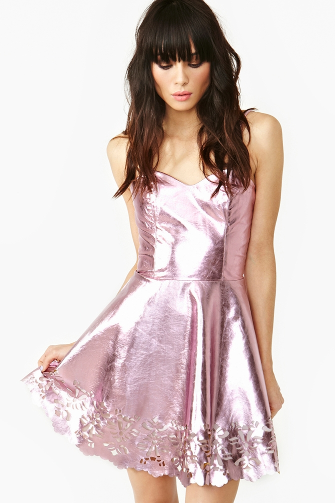 Nasty gal Metallic Dress in Pink   Lyst