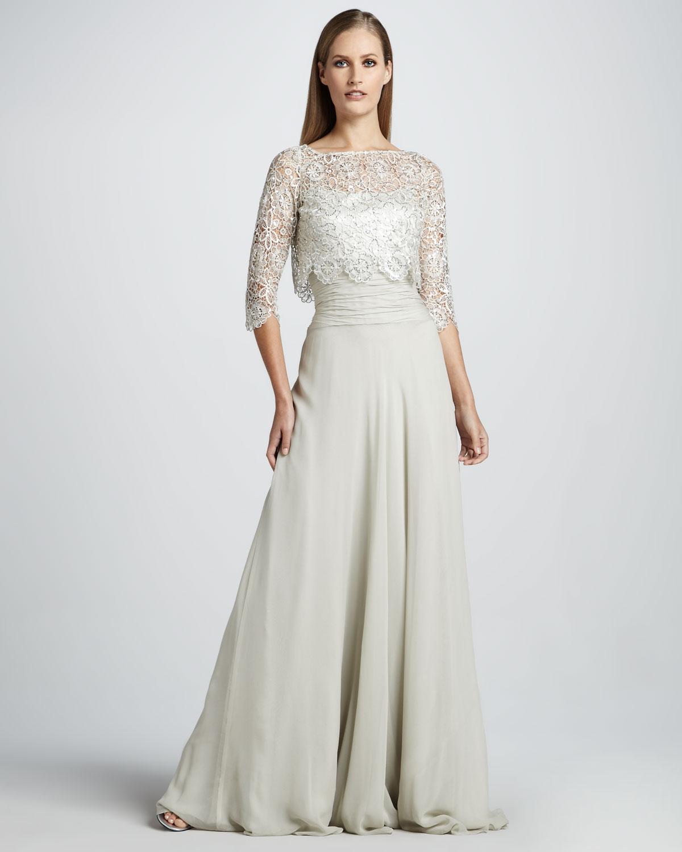 Lyst - Teri Jon Sequined Lace Bolero Spaghetti Strap Gown in White