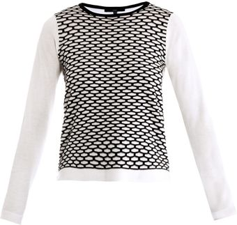 Tibi Sporty Mesh Intarsia Knit Sweater - Lyst