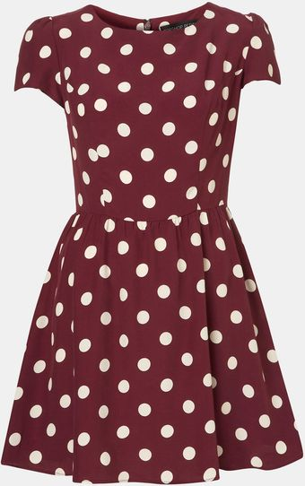 Topshop Florence Polka Dot Dress Petite - Lyst